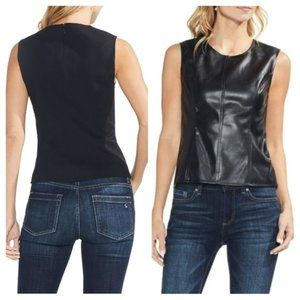 🖤5x HP!🖤 NWT Vince Camuto Black Faux Leather Top